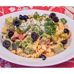 300g Poseidon (kousky uzeného lososa, brokolice, rajčata, česnek, smetana, Niva, olivy)