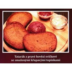 100g Tatarský biftek z pravé svíčkové namíchaný + 3 ks topinka