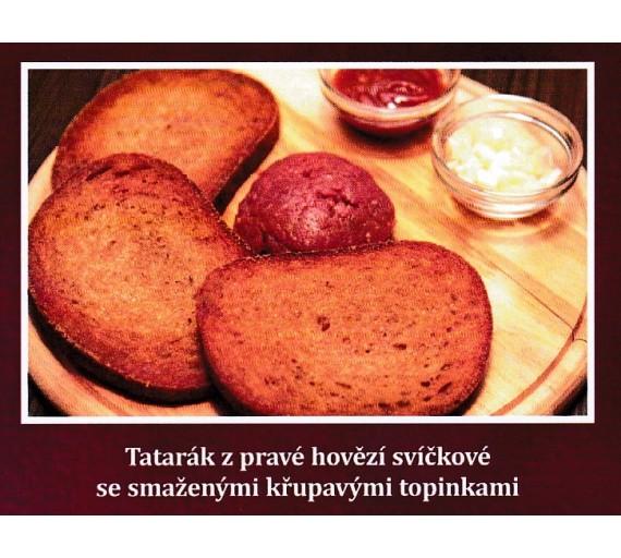 200g DOOUBLE  Tatarský biftek z pravé svíčkové namíchaný + 6 ks topinka